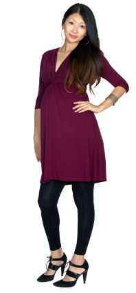 Wine red knotted maternity dress