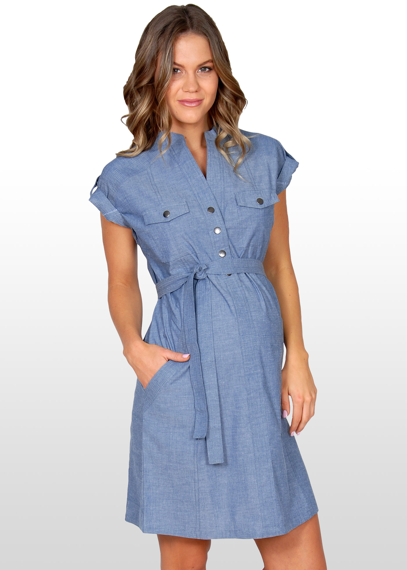 Blue Chambray Maternity Dress