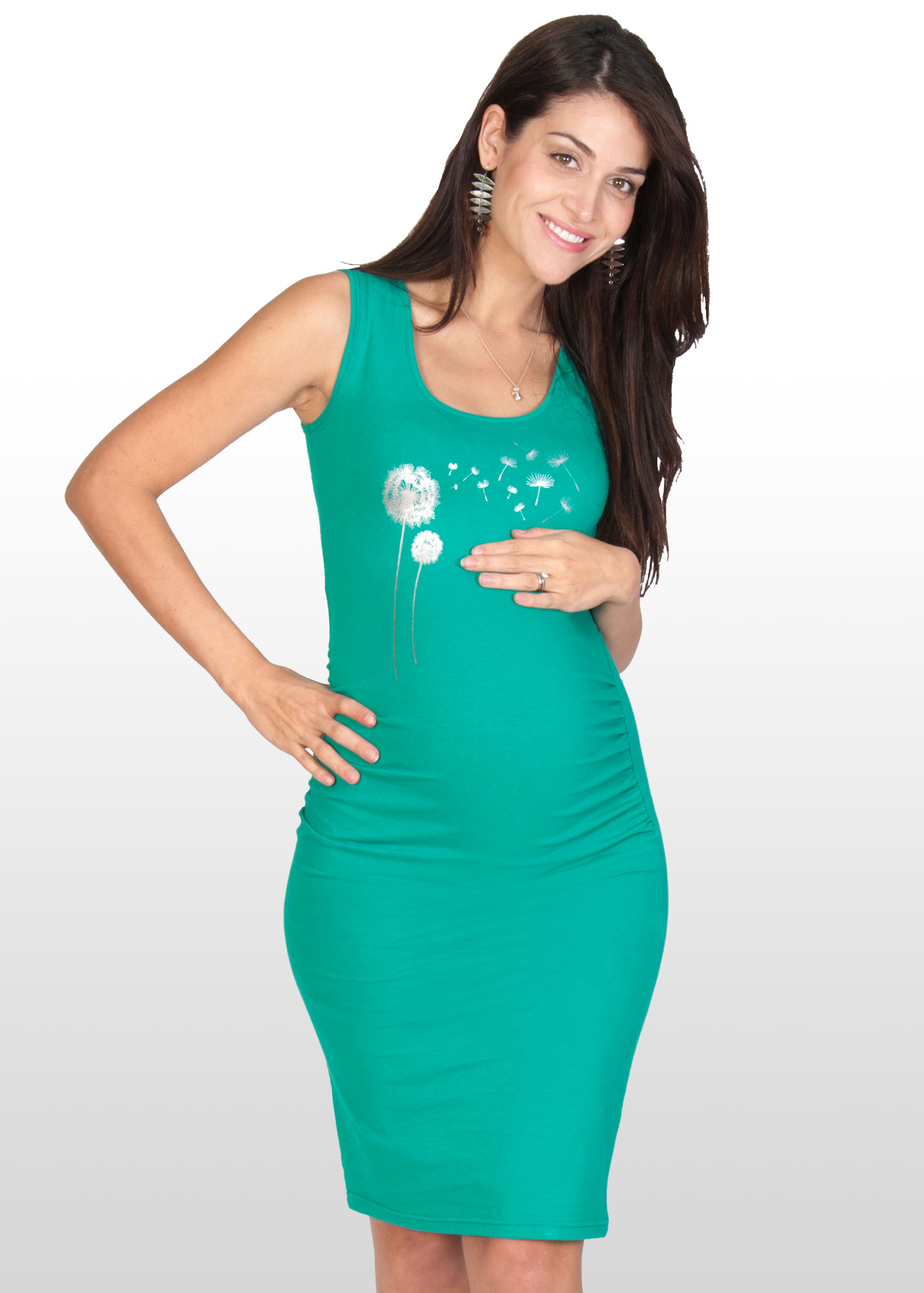 Emerald print maternity dress