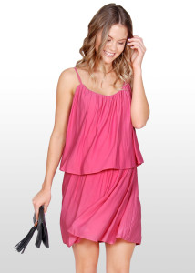Pink Tiered Maternity & Nursing Dress