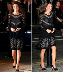 Kate Middleton wearing an Alice Temperley dress during the first trimester of her second pregnancy