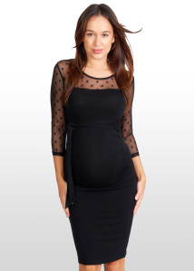 Stylish Evening Maternity Dress - Eve of Eden Black Spotted-Lace Maternity Dress