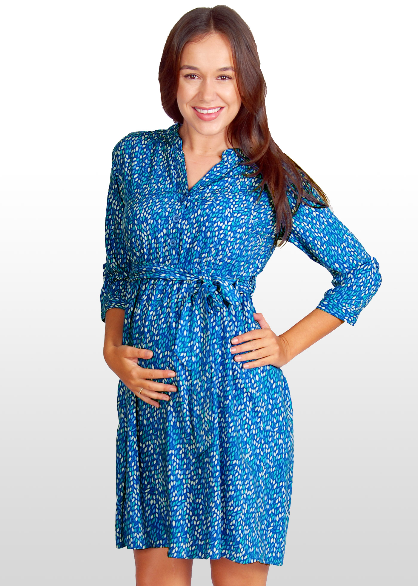 Leaf Print Maternity Shirt Dress is a great trans-seasonal piece - now just $59