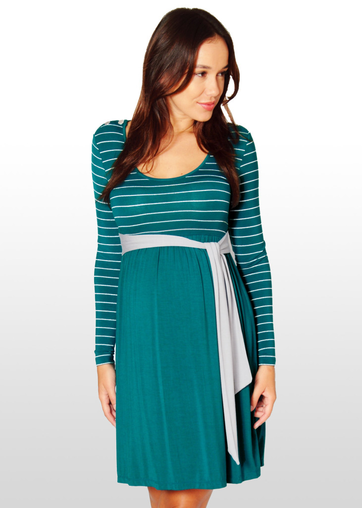 Teal & Silver Maternity Dress