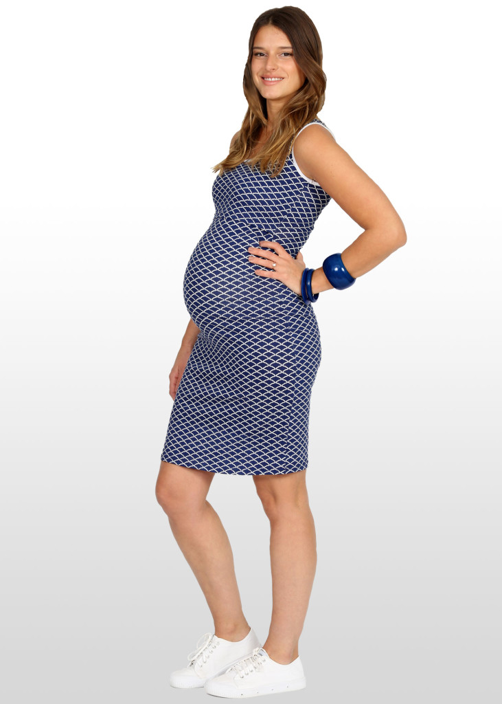 Navy & white scallop print maternity & nursing  dress, $65.