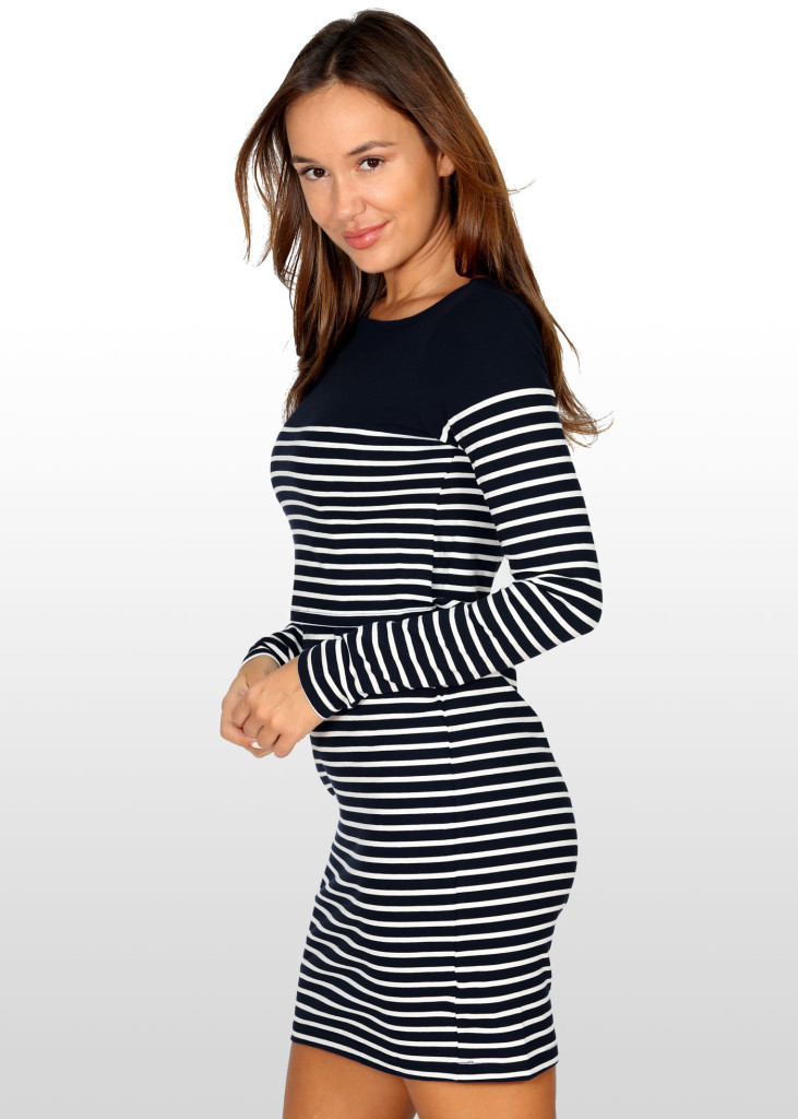 Stylish Breton Striped Breastfeeding Dress in Black & Ecru, $69 including free delivery.