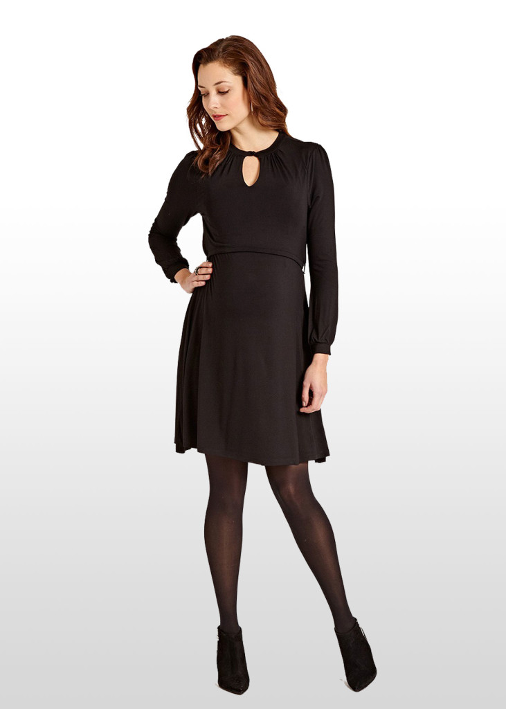 Stylish black maternity & breastfeeding dress with keyhole neckline.