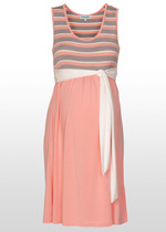 Apricot Stripe Maternity Dress