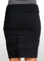 Black Diagonal Pleat Skirt