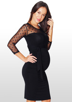 Black Dotted Lace Maternity Dress
