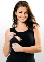 Black Maternity & Nursing Singlet Top