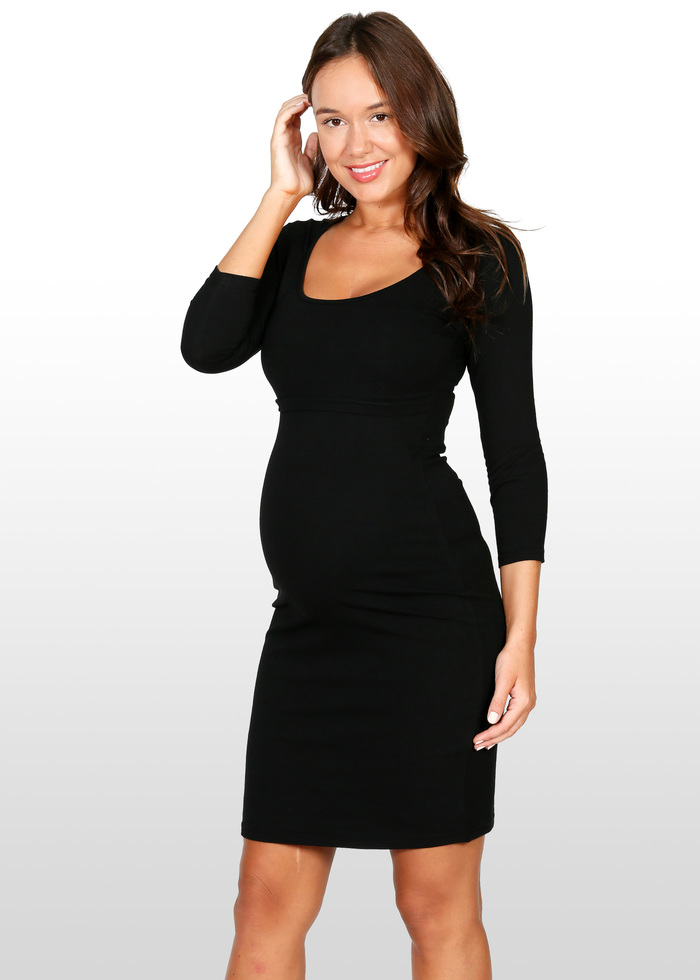 7206df600b ... black long sleeve bodycon maternity dress ...