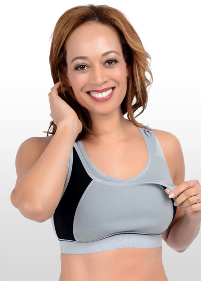43bb49271c44f This maternity & nursing sports bra is our most popular style and is now  available in a modern grey with black panels. It has excellent reviews and  won the ...