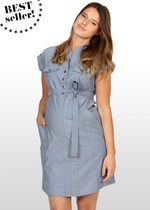 Blue Chambray Maternity Shirt-Dress