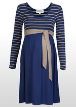 Navy & Stone Striped Maternity Dress