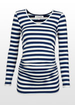 Ruched blue-striped maternity top