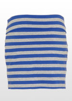 Blue & grey striped mini skirt