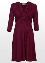 3/4 sleeve wine-red dress