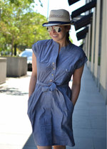 Blue Chambray Shirt-Dress
