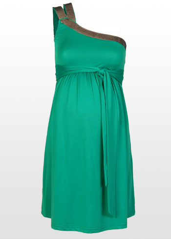 Maternity Dress on Emerald One Shoulder Maternity Dress