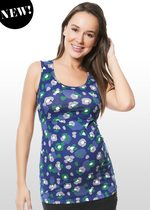 Graphic Floral Print Maternity & Nursing Singlet