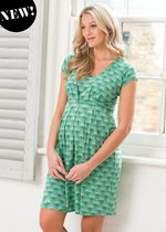 Green Fan Print Maternity / Nursing Dress