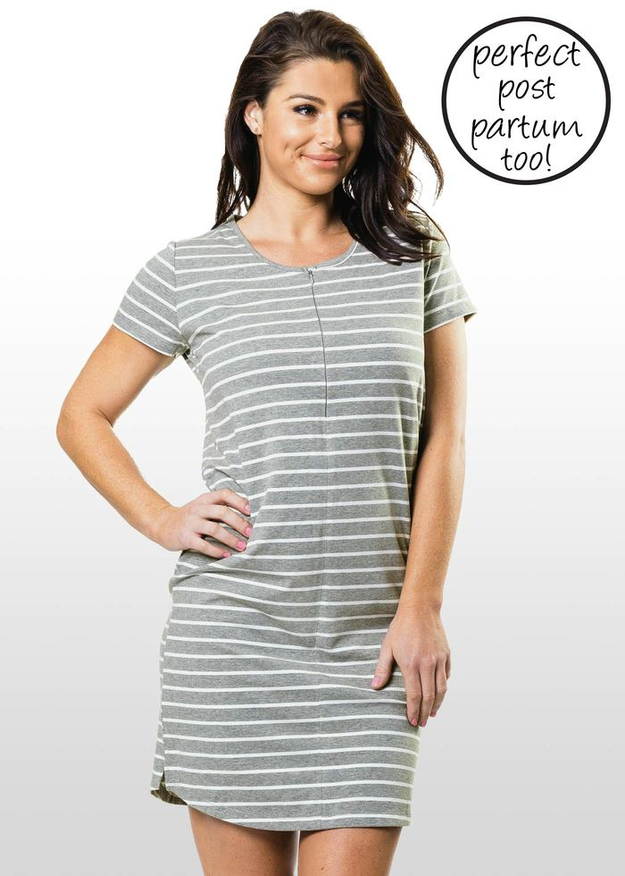 d50a4781de3 Striped Maternity/Nursing T-shirt Dress GET 20%0FF USE
