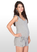 Grey & white polka dot maternity playsuit
