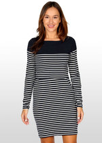Breton Stripe Nursing Dress - Black