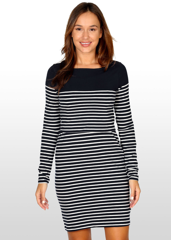 5f2e00cfdd553 A fabulous breastfeeding dress in classic black and white Breton stripes.  Currently sold out (by the manufacturer) in navy and white.