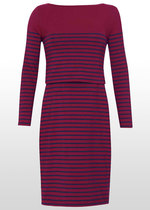 Breton Stripe Nursing Dress - Bordeaux