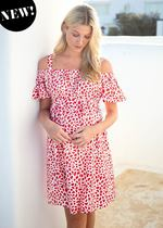 Off The Shoulder Geo Print Maternity Dress