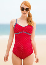 Red & White Dot Maternity Tankini