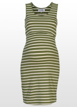 Khaki-striped maternity singlet dress