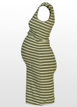 Khaki-striped singlet dress