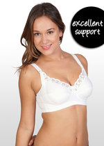 Lace Trim Nursing Bra - White