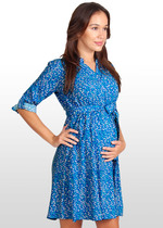 Leaf-Print Maternity Shirt Dress