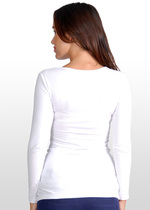 Long-Sleeve White Maternity/Nursing Top