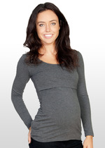 Charcoal long sleeve maternity T shirt