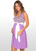 Mauve Striped Maternity Dress