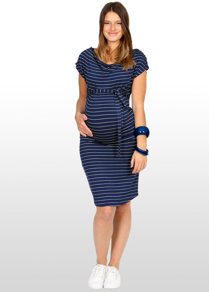 16adcf5a1c1bd Blue & Silver Striped Maternity Dress