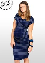 Blue & Silver Striped Maternity Dress