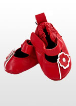 Girls' red & white mary janes