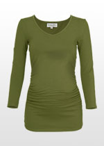 Ruched khaki 3/4 sleeve maternity top