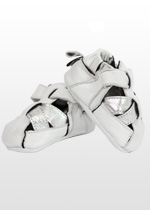 White and silver toddler sandals