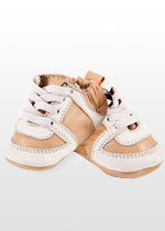 Tan lace-up baby sneakers