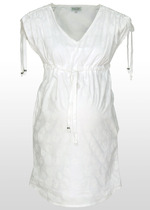 White-on-white print maternity kaftan