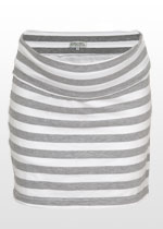 White & grey striped mini skirt