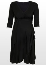 Ruffled black wrap dress