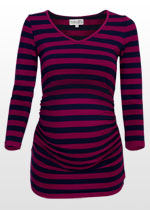 Purple and navy striped maternity top